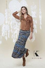 Lange Rok van het merk K-design in het Multicolor