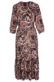 Amelie-amelie - Lang kleed - Zwart-bruin