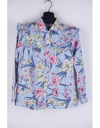 Garde-robe - Blouse - Blauw-roze