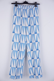 Garde-robe - Lange Broek - Wit-blauw