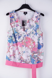 K-design - Blouse - Blauw-roze