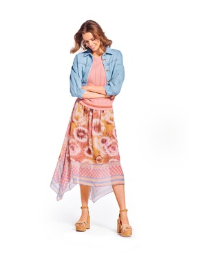 Caroline Biss - Halflange Rok - Roze-beige