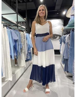 Senso - Lang kleed - Wit-blauw
