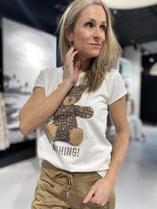 Garde-robe - T-shirt - Wit-bruin