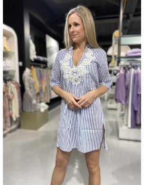 Garde-robe - Tuniek - Wit-blauw