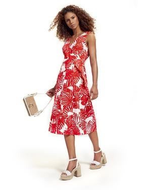 Caroline Biss - Lang kleed - Wit-rood