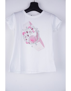 Garde-robe - T-shirt - Wit-roze