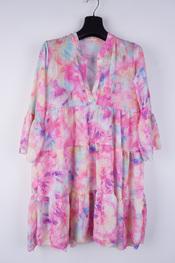 Garde-robe - Halflang Kleedje - Blauw-roze