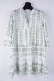 Garde-robe - Halflang Kleedje - Wit-groen