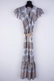 Garde-robe - Lang kleed - Wit-blauw