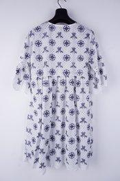 Garde-robe - Halflang Kleedje - Wit-blauw