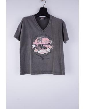 Garde-robe - T-shirt - Grijs-roze