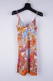 Garde-robe - Halflang Kleedje - Blauw-oranje