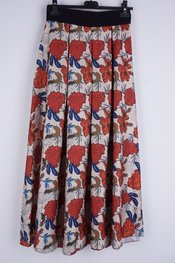 Garde-robe - Lange Rok - Beige-rood